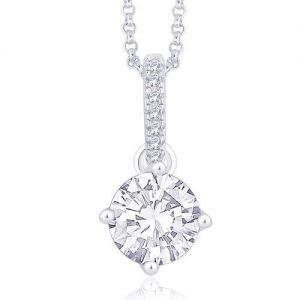 Peora .925 Sterling Silver White Gold Rhodium Plated Micro Pave Diamond Cut Cubic Zircon Classic Solitaire Style Pendant PP347