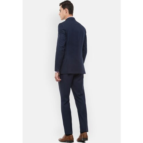 Louis Philippe Men Navy Blue Solid Slim-Fit Single-Breasted Formal Three-Piece Suit