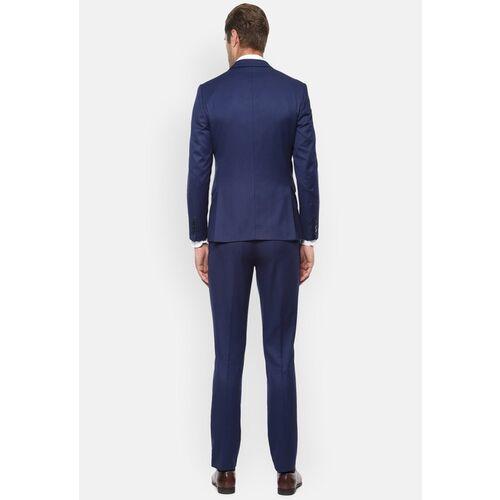 Louis Philippe Men Navy Blue self-design Slim-Fit Suit