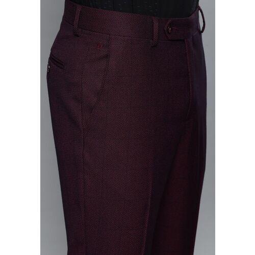 Louis Philippe Burgundy Self-Design Slim Fit Formal Suit