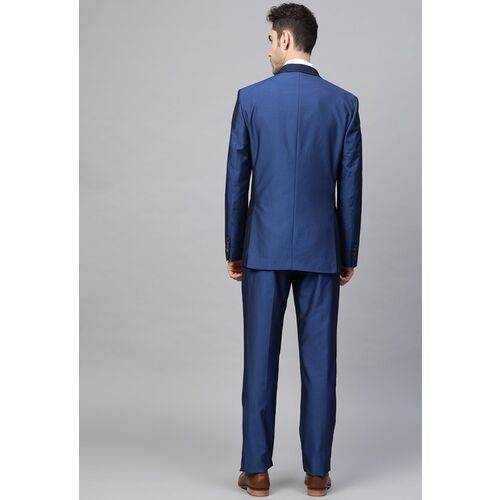 Louis Philippe Men Blue Self Design Slim Fit Single Breasted Party Suit