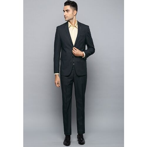 Louis Philippe Men Navy Blue Self Design Slim Fit Single-Breasted Two-Piece Suit