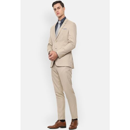 Louis Philippe Men Beige Checked Slim Fit Formal Suit