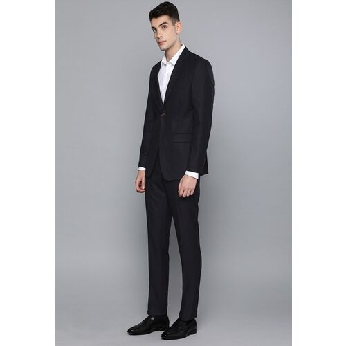 Louis Philippe Burgundy & Black Self Design Slim Fit Single-Breasted Wedding Suit
