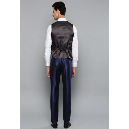 Louis Philippe Men Blue Self-Design Single-Breasted Slim Fit Formal Suit