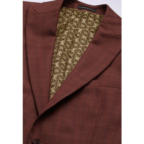 Louis Philippe Men Brown Checked Slim Fit Single-Breasted Party Suit