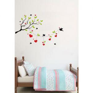 Amaze rawpockets Black & Green Heart-In Love Birds On Tree Wall Stickers