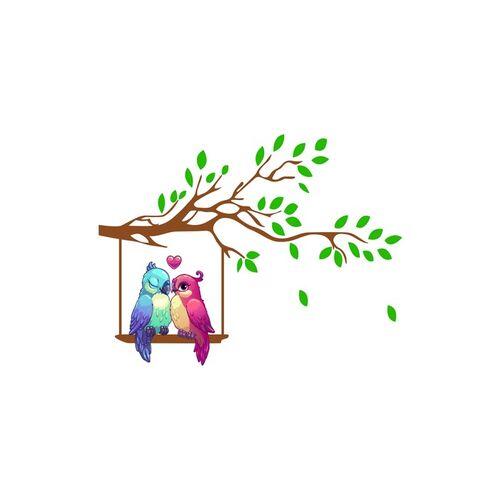 rawpockets Home Multicoloured Love Birds On Tree PVC Vinyl Wall Stickers