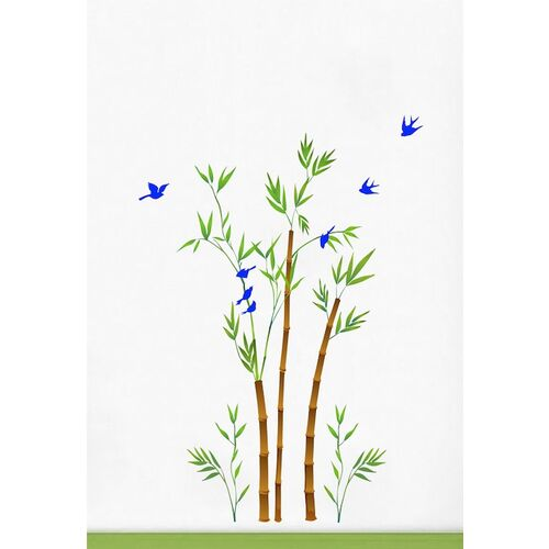 rawpockets Green & Brown Bamboo Trees with Birds Wall Stickers