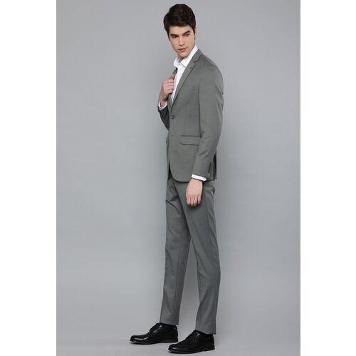Louis Philippe Men Grey Prema Press Slim Fit Self Design Single-Breasted Formal Suit