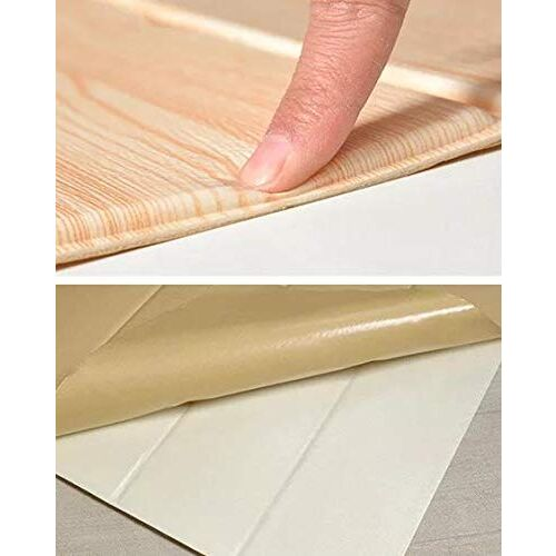 SATYAM KRAFT 3D Self Adhesive Wooden Textured Effect Off White Peel and Stick Foam Wallpaper