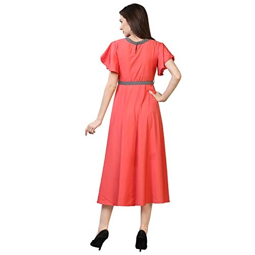 OOMPH! Pink Crepe A-Line Maxi Dress