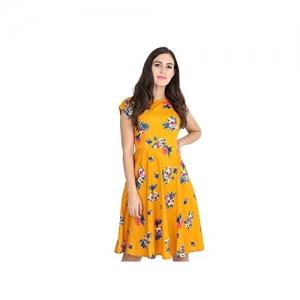 LookMark Musturd Floral Knee Length Dress (MD201)