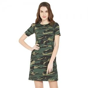 Wear Your Opinion Green Camoflage Casual Long T-Shirt Dress