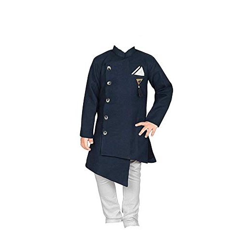 Feliz the designer studio Boy's Cotton Kurta and Pyjama Set (Blue, 14-16 Years)