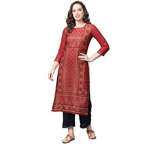 Vaamsi Red Polyester Round Neck Straight Kurta For Women