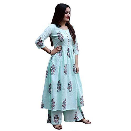 GoSriKi Sky Blue Cotton Floral Anarkali Kurti With Pant