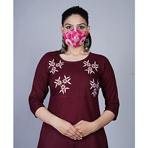 Cottonwalas Maroon Cotton Rayon Women Anarkali Dress
