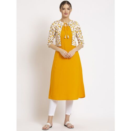 ALC Creations Yellow Crepe Solid A-line Kurta With Jacket