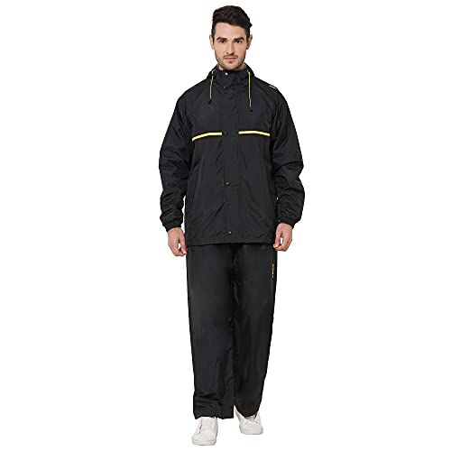 ZEEL Mens Raincoat with Adjustable Hood Rain Coat with Waterproof Pant and Carrying Pouch