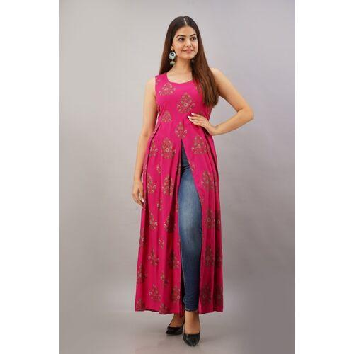 Shobhangi Pink Floral Print Women Frontslit Kurta