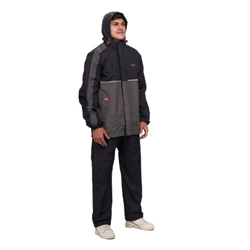 New ZEEL Mens Raincoat with Adjustable Hood   Stylish Water Resistant Polyester Jacket With Waterproof Pant and Carrying Pouch
