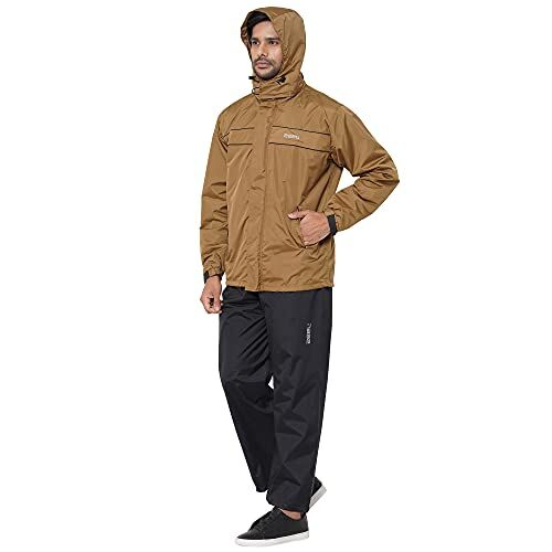 New ZEEL Mens Raincoat with Adjustable Hood   Stylish Jacket with Pockets   Waterproof Pant with Carrying Pouch   JS509