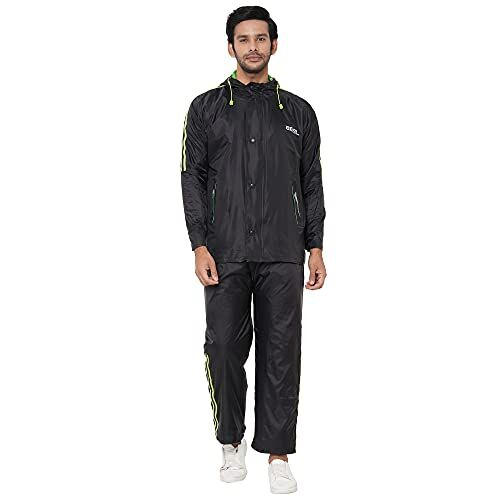 ZEEL Mens Raincoat with Adjustable Hood   Reversible Raincoat With Waterproof Pant and Carrying Pouch   JS201 SPL