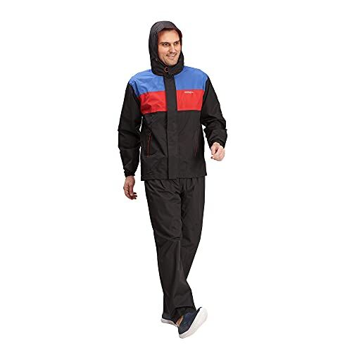 ZEEL Mens Raincoat with Adjustable Hood | Stylish Water Resistant Polyester Jacket And Suitable for Bike Ride | Waterproof Pant and Carrying Pouch