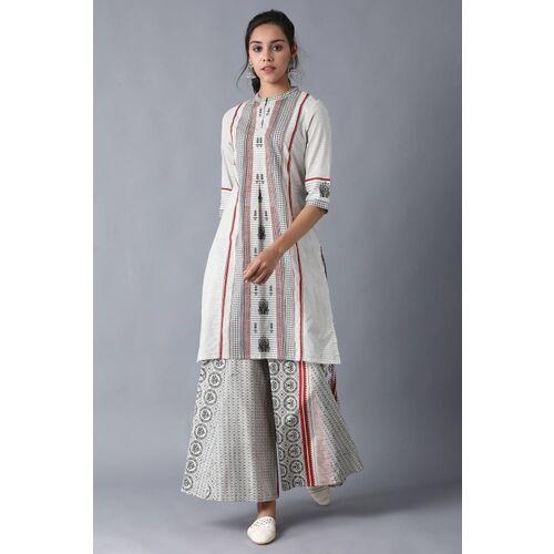 W for Woman Beige Cotton Geometric Print Straight Kurta