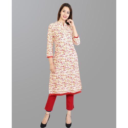 METRO-FASHION Beige Cotton Printed Straight Kurta