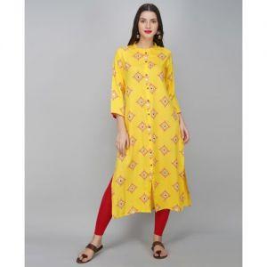 METRO-FASHION Yellow Printed Rayon Frontslit Kurta
