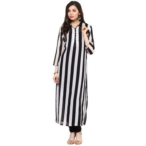 Shree Wow Women Striped Straight Kurta(White, Black)