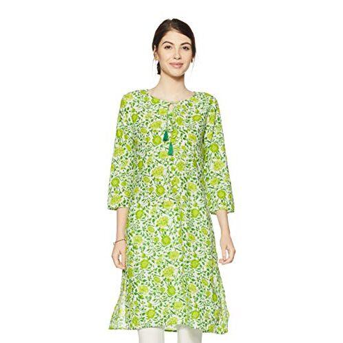 Amazon Brand - Myx Cotton Green Round Neck Regular Kurti