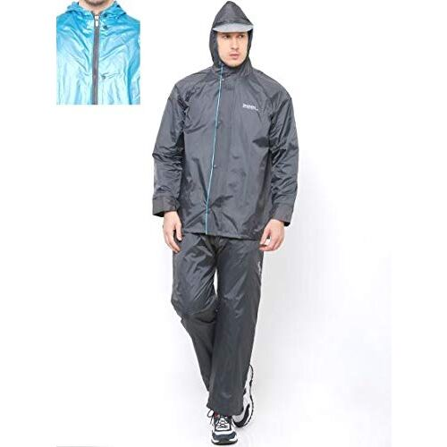 ZEEL Men's PVC Waterproof Rainsuit (Black; XL)