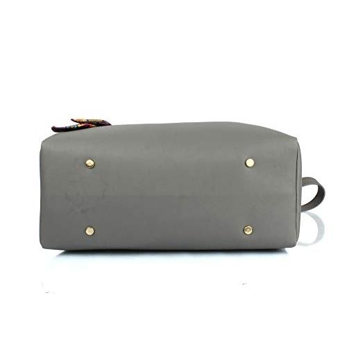 Mammon Grey PU Leather Solid Handbag Combo