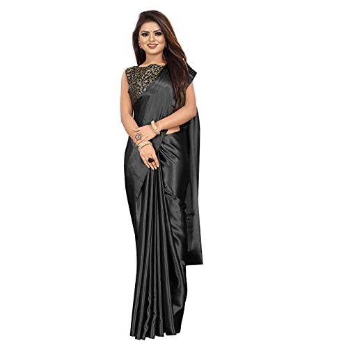 Ved Fashion Women's Plain Weave Satin Saree With Unstiched Blouse Piece