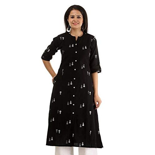 Pistaa's Women's Cotton Floral Printed A-Line Kurta with Plus Size's