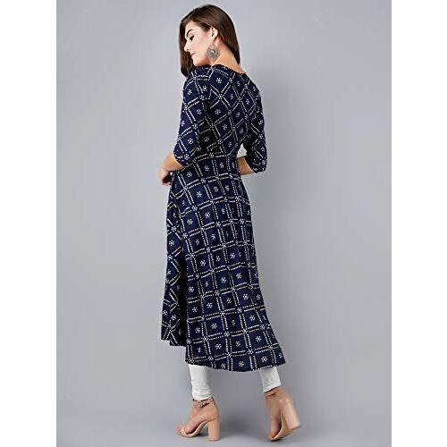ANUTTARA FASHIONS Blue Rayon Printed Women's A-Line Long Kurta