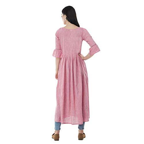 AnjuShree Choice Pink Rayon Anarkali Regular Fit Kurti