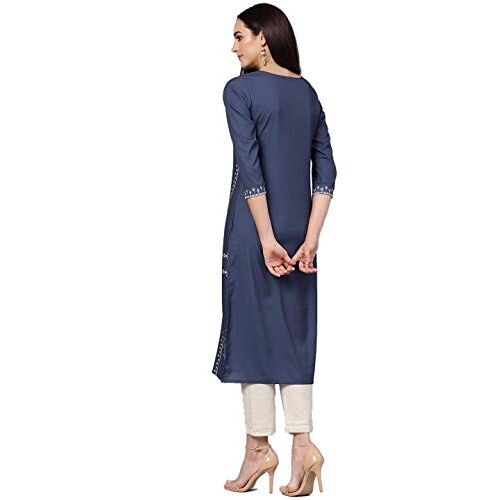 Vaamsi Blue Polyester Round NeckPrinted Straight Kurta