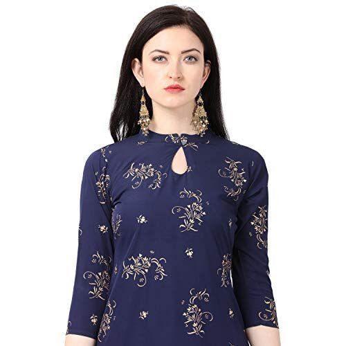 NAINVISH Nevy Blue Crepe Printed Stitched Kurti with Pant Set for Women
