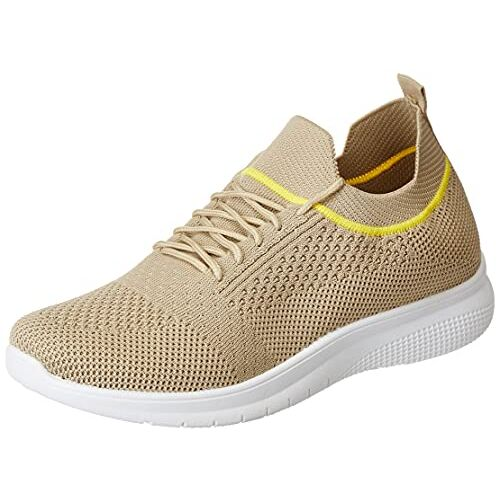 Flavia Beige Mesh Lace Up Running Shoes