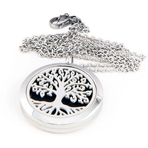 PEORA Stainless Steel Essential Oil Diffuser Aromatherapy Tree Design Pendant Locket Necklace for Women with 10 Refill Pads Silver Alloy Pendant