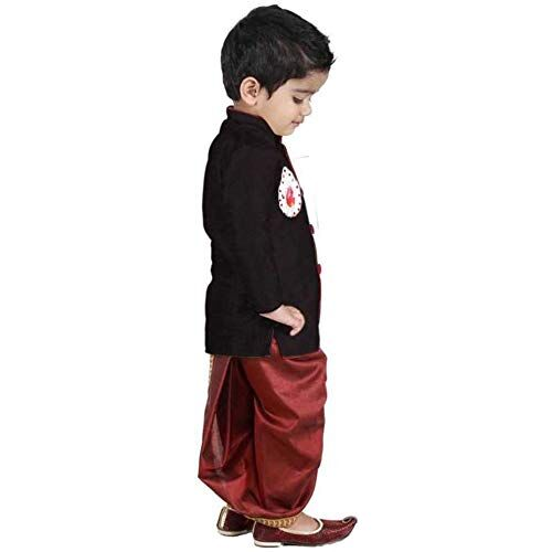 PEACEWAVE Boy Ethinic Wear, Fancy Dhoti Kurta/Angarkha Set, Art Silk Sleeveless Party Dress