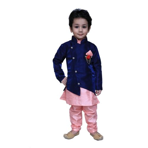 KL Collection Boys Festive & Party Kurta, Waistcoat and Pyjama Set(Pink Pack of 1)