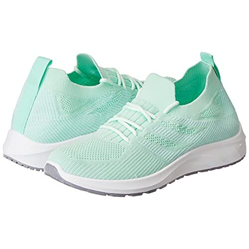 Flavia Green Mesh Lace Up Running Shoes