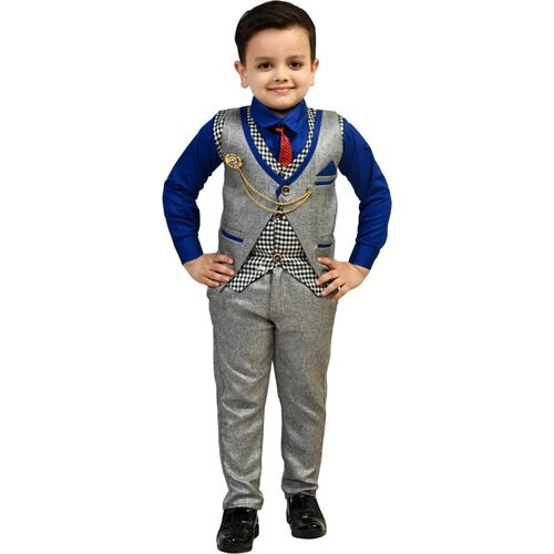 Fashion 4 Ever Boys Casual, Festive & Party Shirt, Waistcoat and Pant Set(Blue Pack of 1)