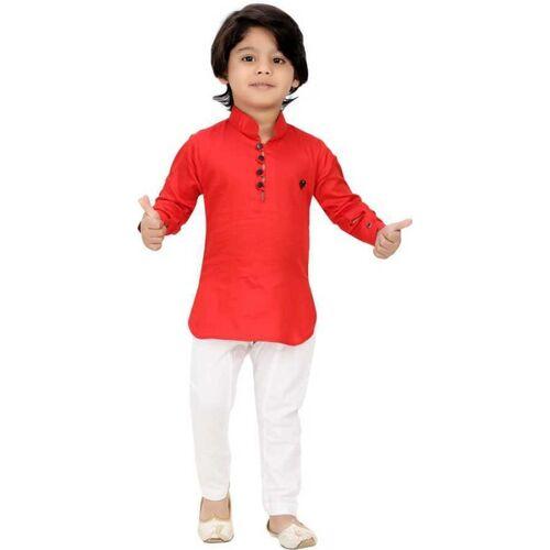 BITU FASHIONS Boys Festive & Party Kurta and Pyjama Set(Red Pack of 1)