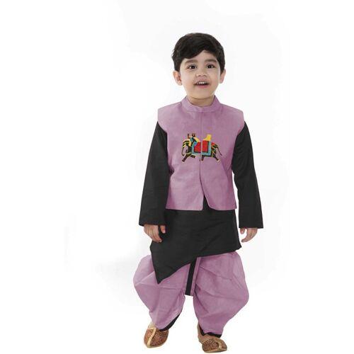 SmartRAHO Boys Festive & Party Ethnic Jacket, Kurta and Pallazo Set(Purple Pack of 1)